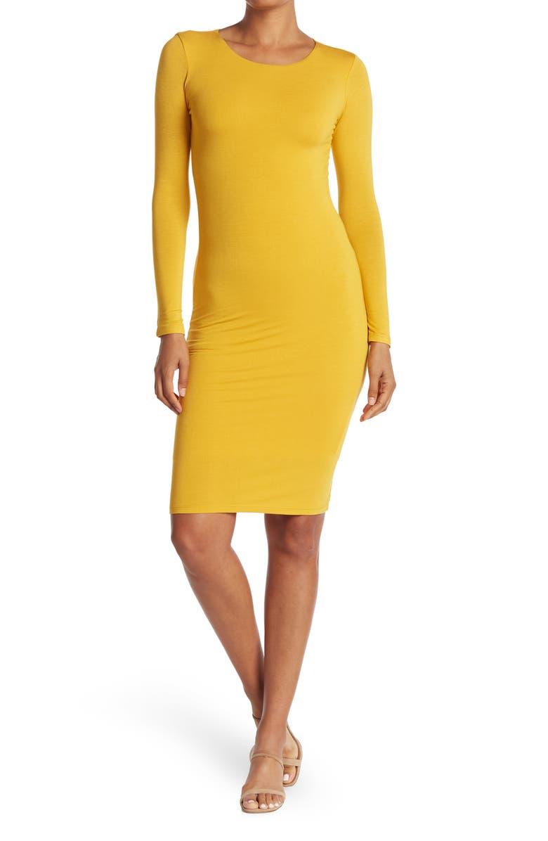 VELVET TORCH Long Sleeve Bodycon Midi Dress, Main, color, MUSTARD