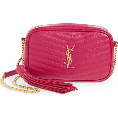 Saint Laurent Mini Lou Quilted Leather Crossbody Bag - Pink
