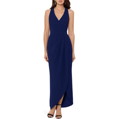 Xscape Tulip Hem Sleeveless Crepe Gown, Blue