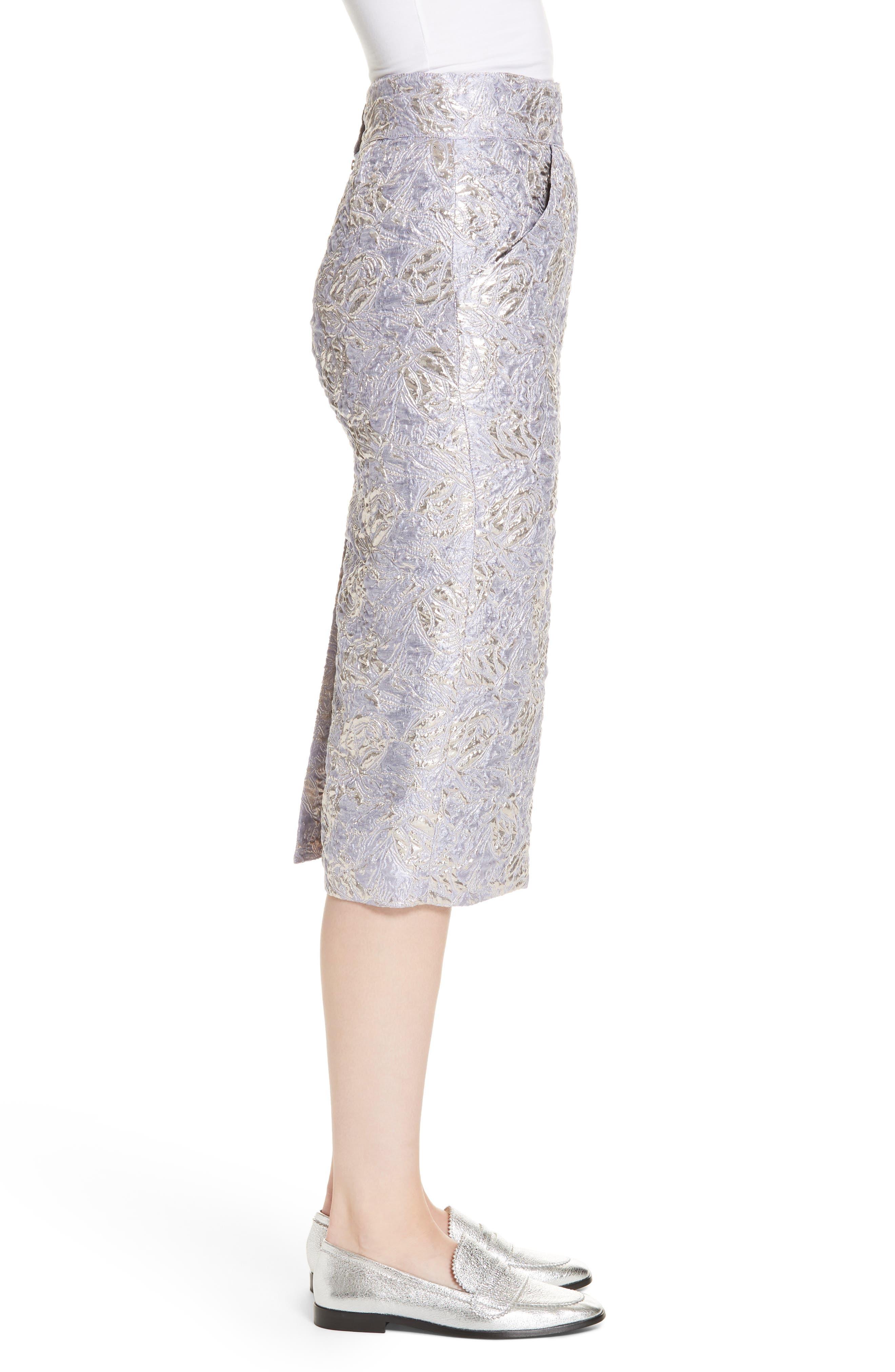 ,                             Lauren Brocade Pencil Skirt,                             Alternate thumbnail 3, color,                             LILAS