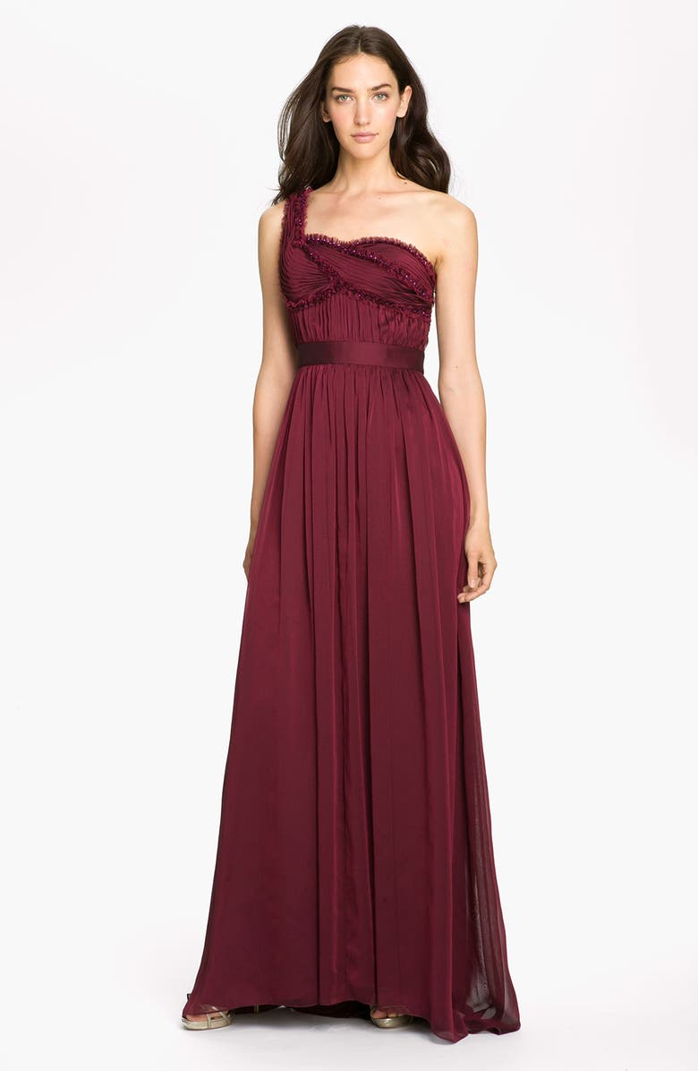 ADRIANNA PAPELL Embellished One Shoulder Pleated Chiffon Gown, Main, color, 930