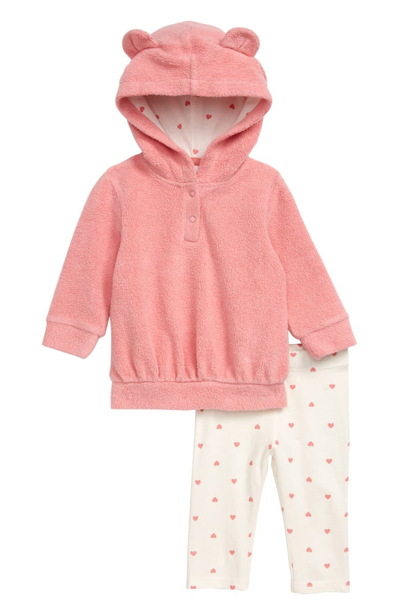 NORDSTROM Plush Bear Hooded Tunic & Leggings Set, Main, color, CORAL MAUVE- IVORY HEARTS