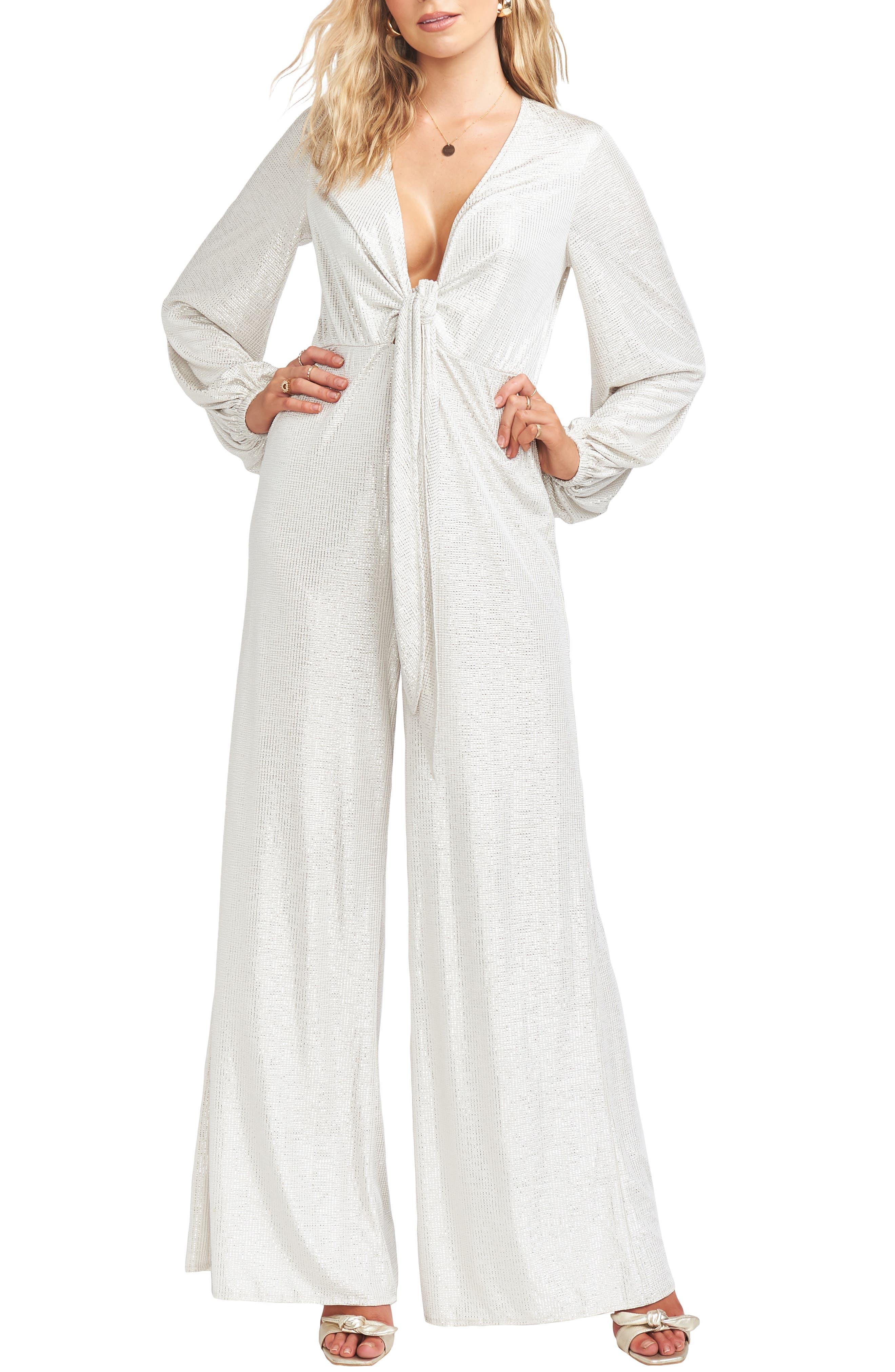 60s Wedding Dresses | 70s Wedding Dresses Womens Show Me Your Mumu Angela Metallic Long Sleeve Jumpsuit $130.80 AT vintagedancer.com