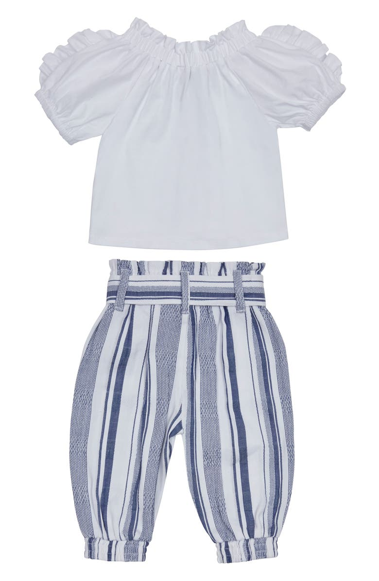 HABITUAL Ruffle Top & Paperbag Pants Set, Main, color, WHITE