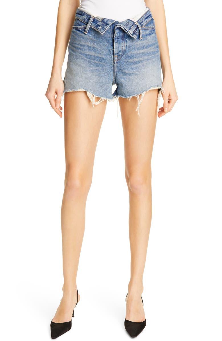 DENIM X ALEXANDER WANG Bite Flip Denim Shorts, Main, color, 400