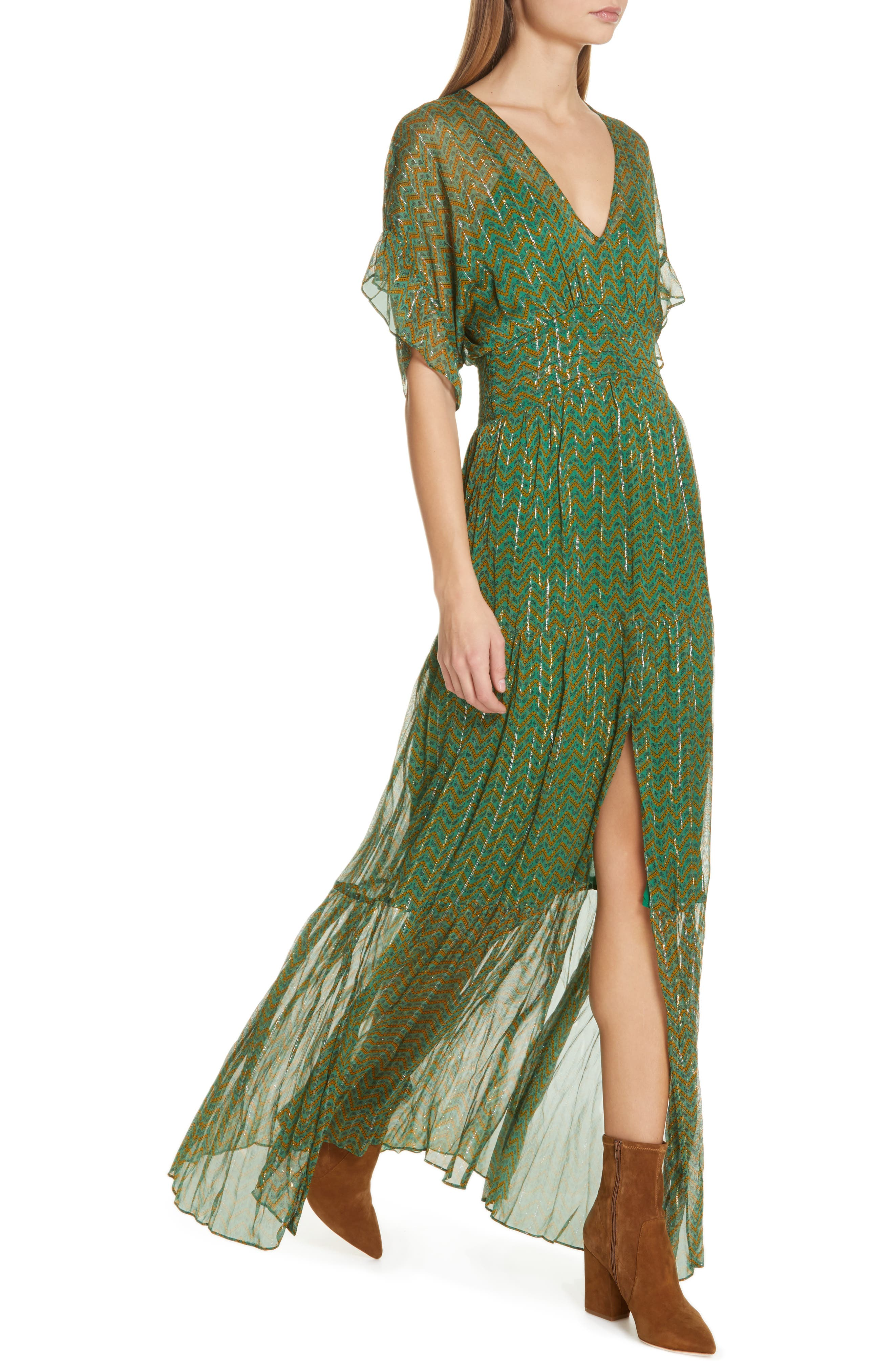 ,                             Wanda Metallic Accent Maxi Dress,                             Alternate thumbnail 5, color,                             VERT
