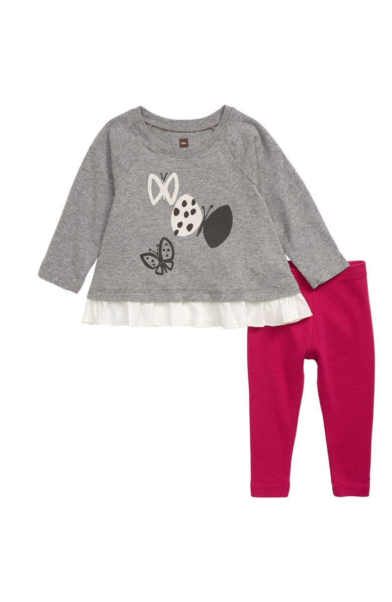 TEA COLLECTION Butterfly Graphic Top & Leggings Set, Main, color, MED HEATHER GREY