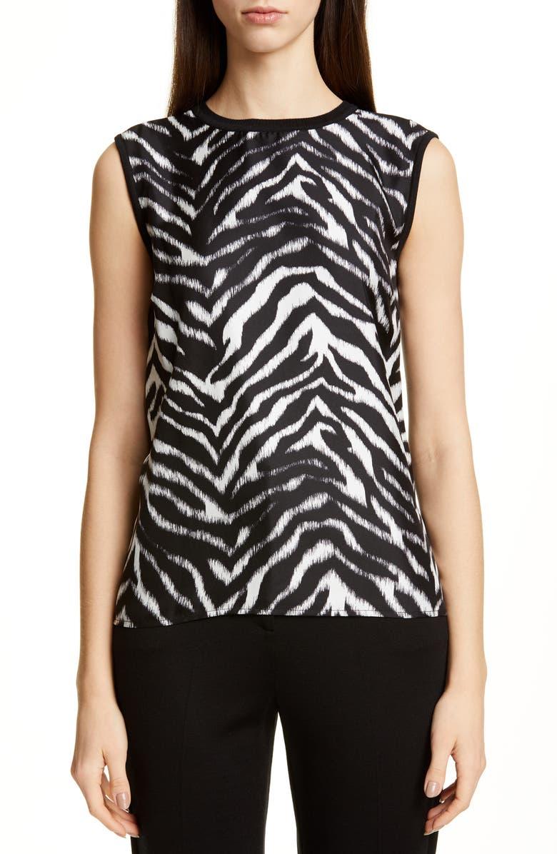 ST. JOHN COLLECTION Zebra Print Fine Gauge Jersey Shell, Main, color, CAVIAR/ BRIGHT WHITE