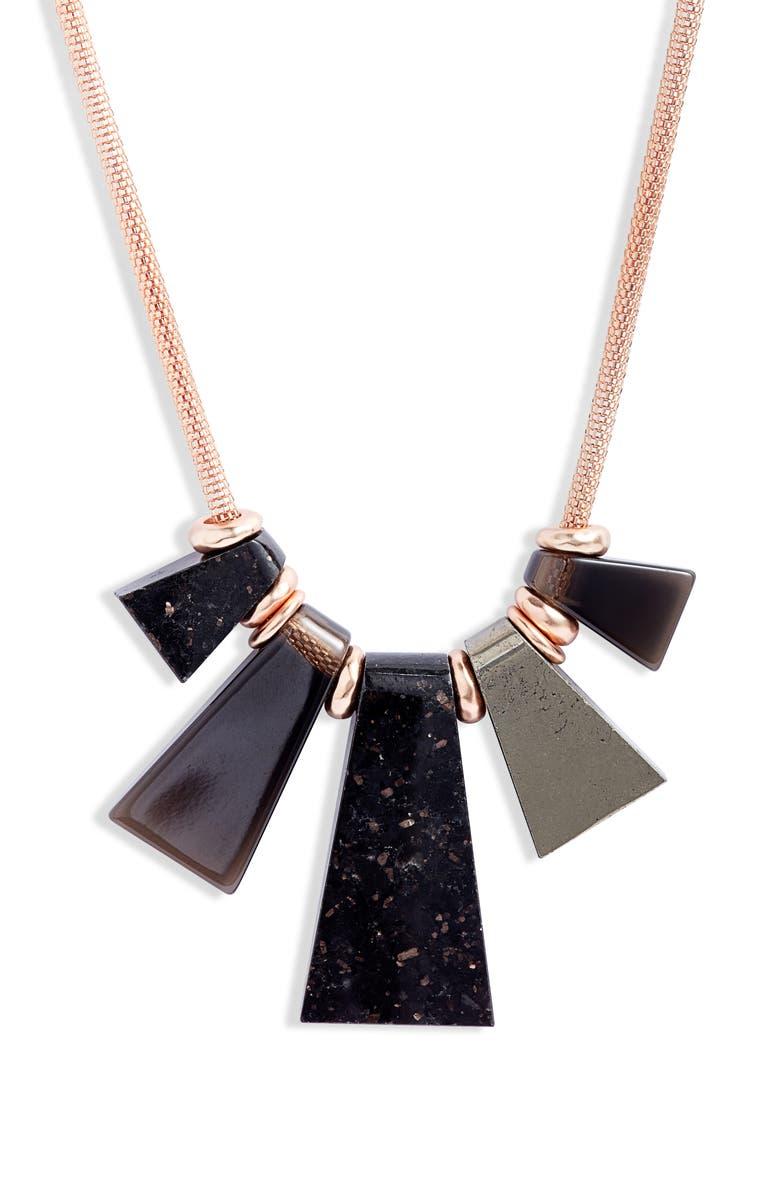 KENDRA SCOTT Rhodes Statement Necklace, Main, color, ROSE GOLD/ BLACK GRANITE