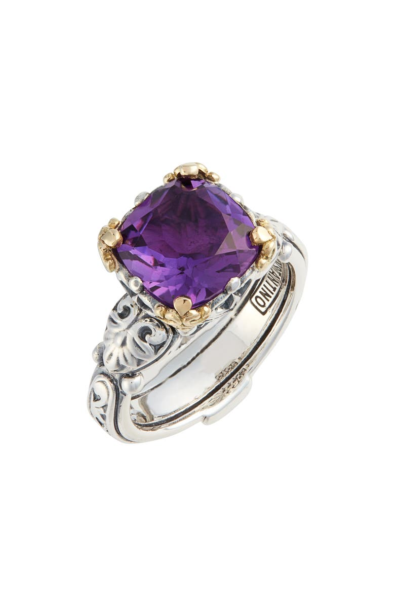 KONSTANTINO Hermione Two-Tone Square Stone Ring, Main, color, SILVER/ AMETHYST