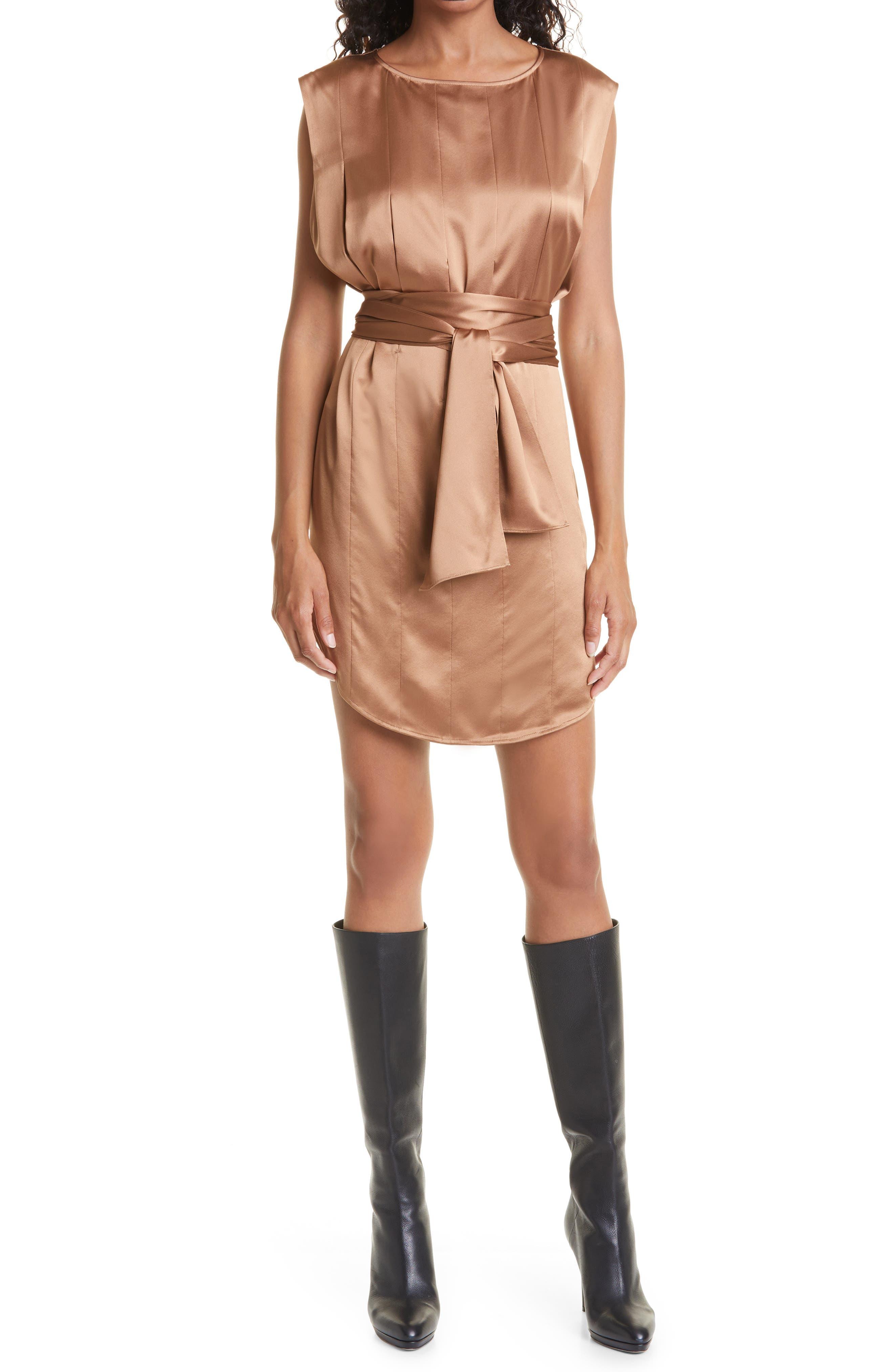 Renee Pleat Front Sleeveless Silk Dress