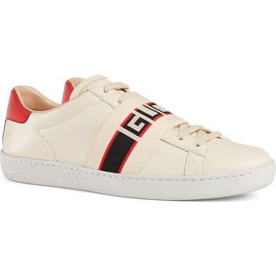 Gucci New Ace Logo Strap Sneaker, White