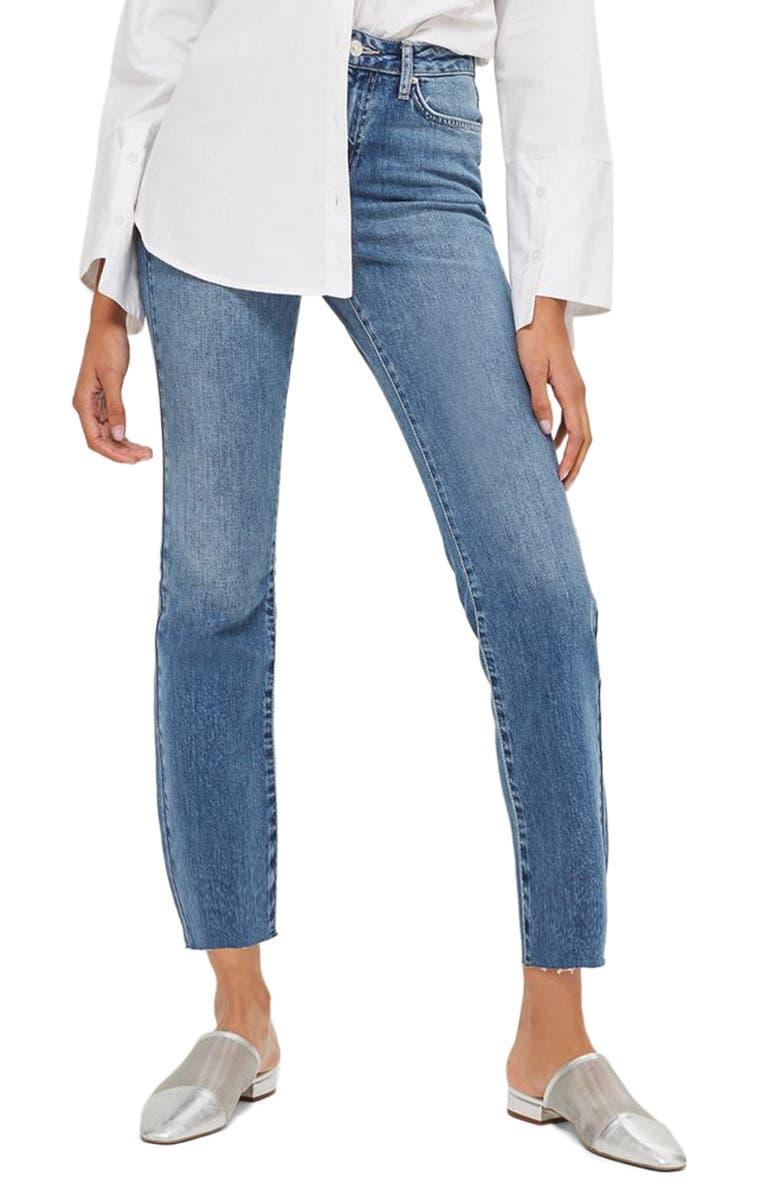 TOPSHOP Dree Raw Hem Crop Flare Jeans, Main, color, 400