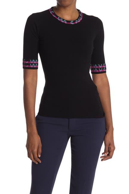 Image of M Missoni Print Trim Elbow Sleeve Sweater
