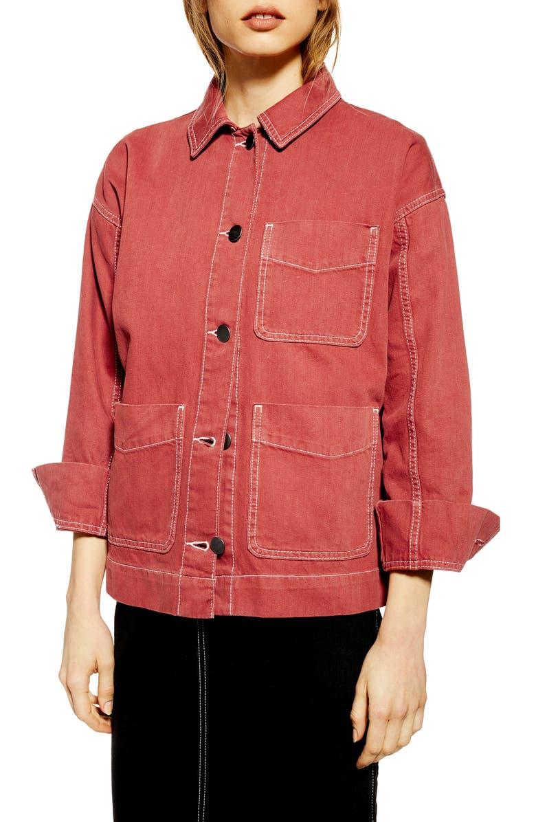 TOPSHOP Tesa Chore Jacket, Main, color, RUST