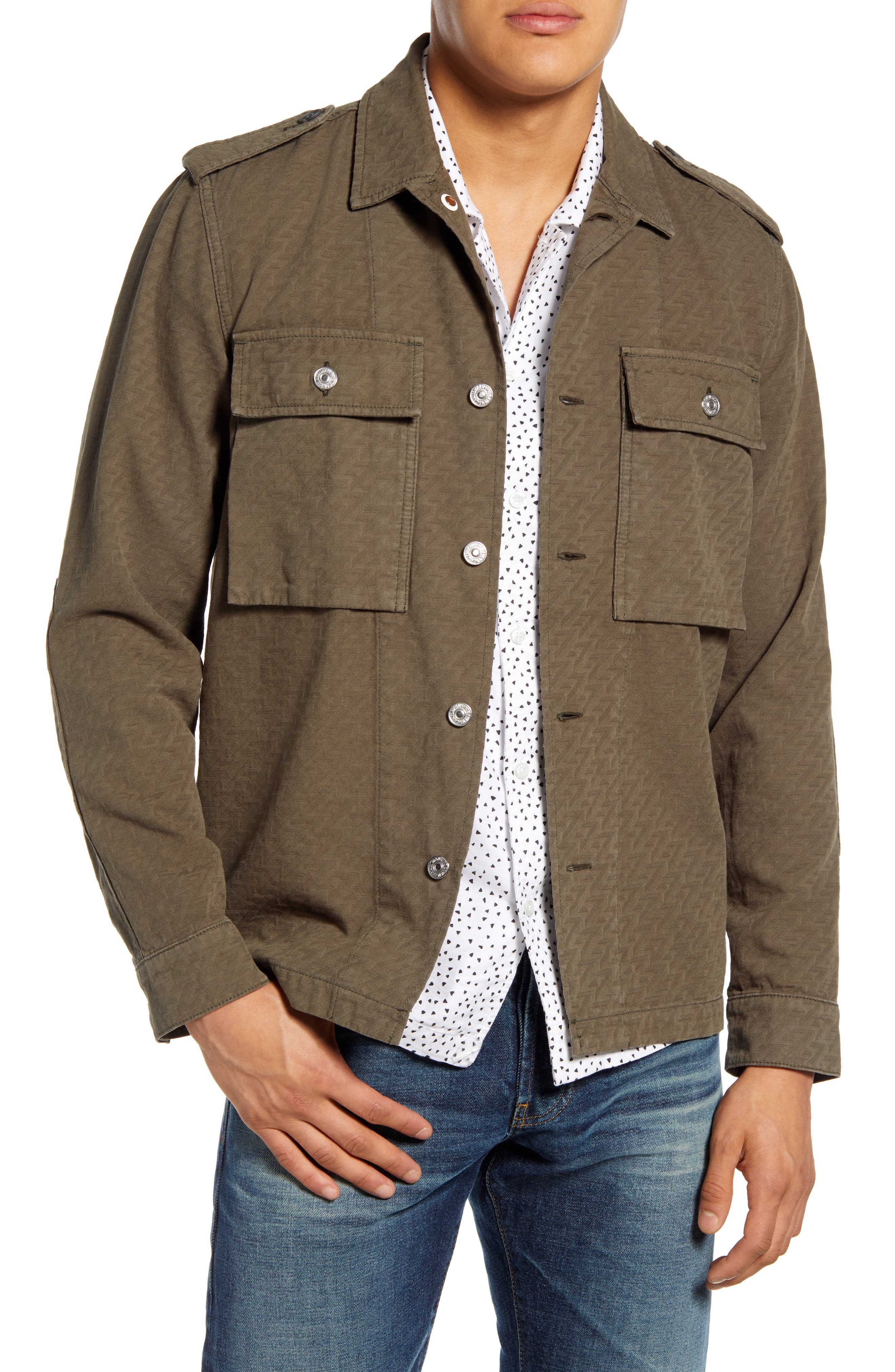 Image of 7 For All Mankind Zigzag Jacquard Military Shirt Jacket