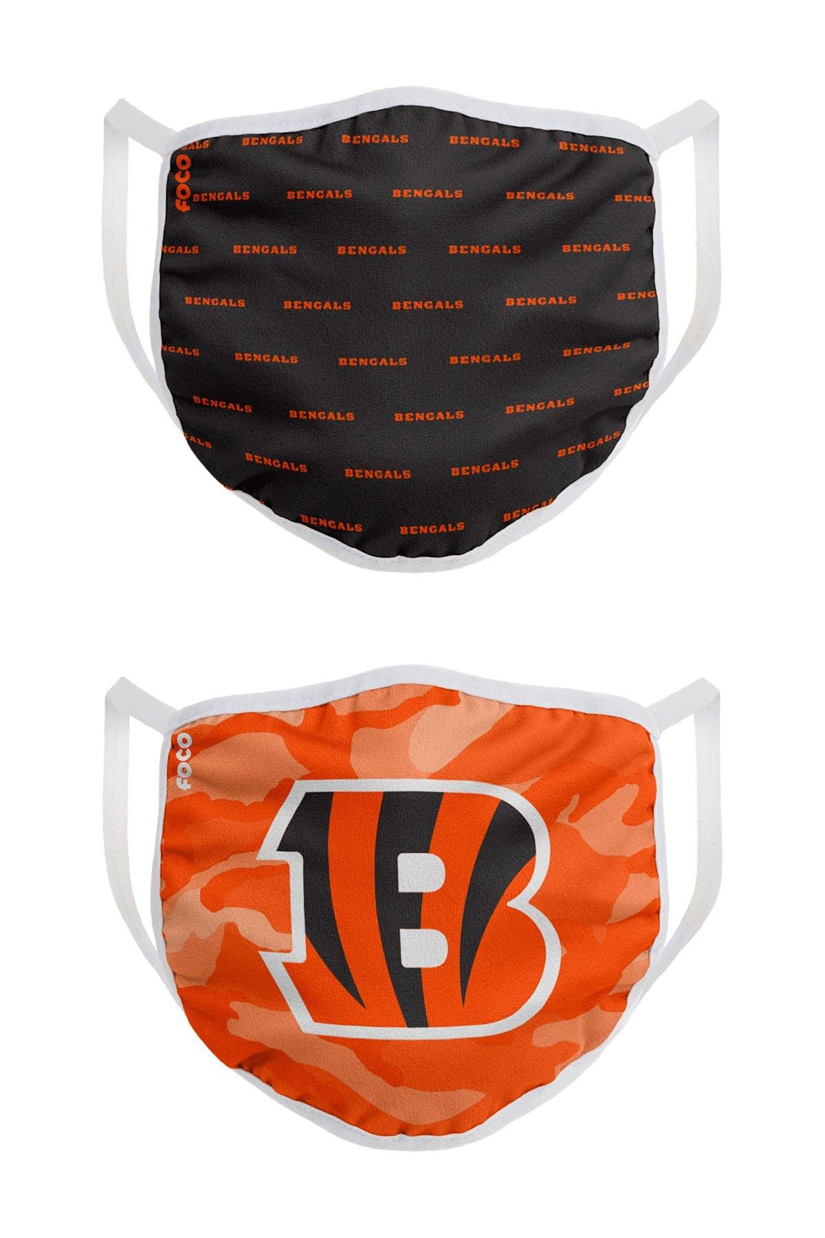 Image of FOCO NFL Cincinnati Bengals Clutch Printed Face Cover - Pack of 2