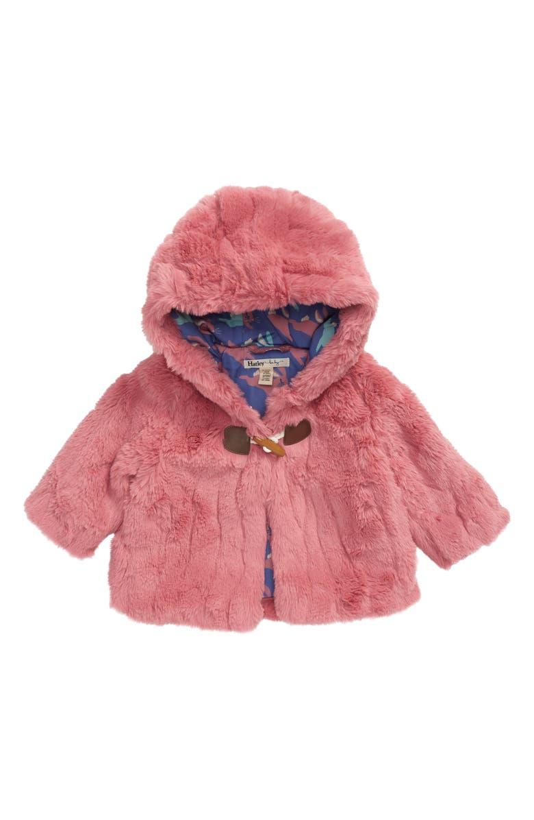 HATLEY Rose Faux Fur Hoodie Jacket, Main, color, PINK