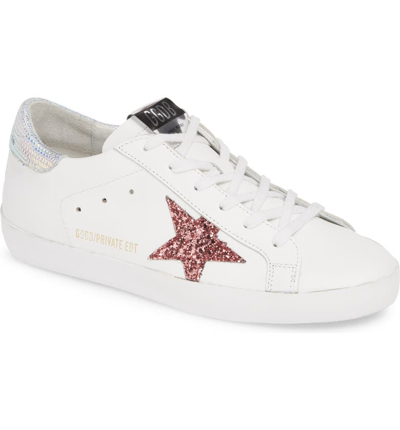 GOLDEN GOOSE Superstar Glitter Low Top Sneaker, Main, color, WHITE/ PINK