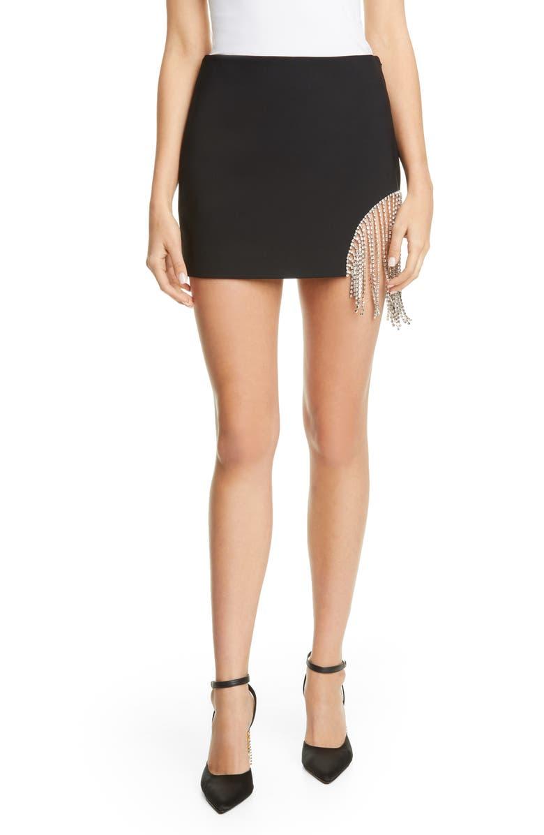 AREA Crystal Fringe Miniskirt, Main, color, BLACK