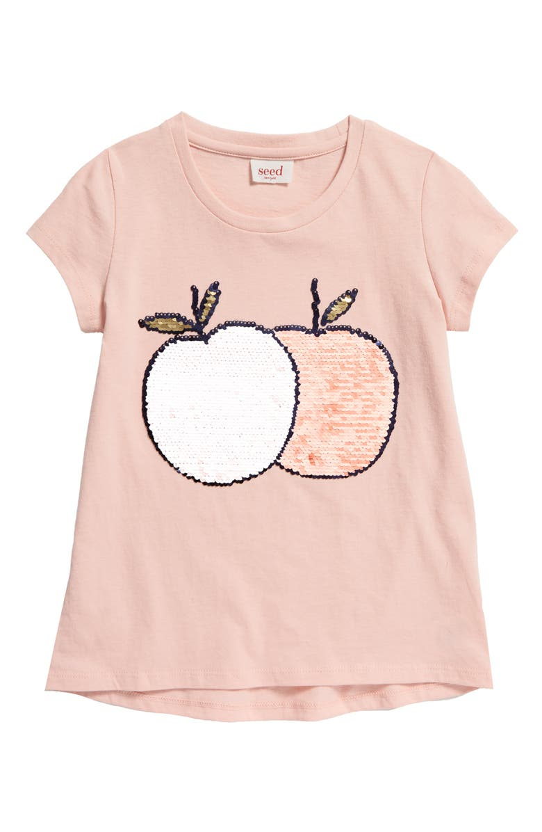 SEED HERITAGE Jan Sequin Tangerine Graphic Tee, Main, color, DUSTY ROSE