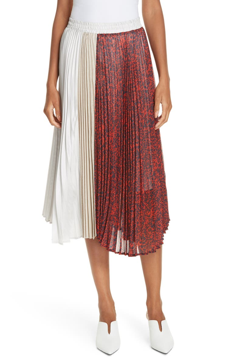 CLU Colorblock Pleated Skirt, Main, color, 619