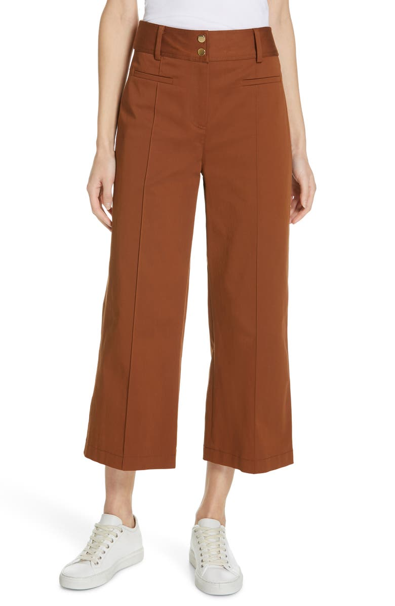 Judith Charles Pop Wide Leg Crop Stretch Cotton Pants