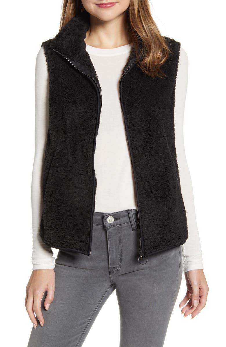 BOBEAU Cozy Fleece Zip Vest, Main, color, BLACK