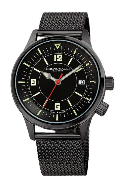 Image of Bruno Magli Men's Vittorio Stainless Steel Mesh Strap Watch, 41mm
