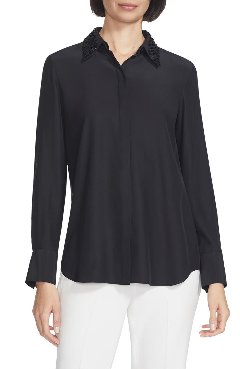 LAFAYETTE 148 NEW YORK Julianne Silk Blouse with Detachable Collar, Main, color, BLACK