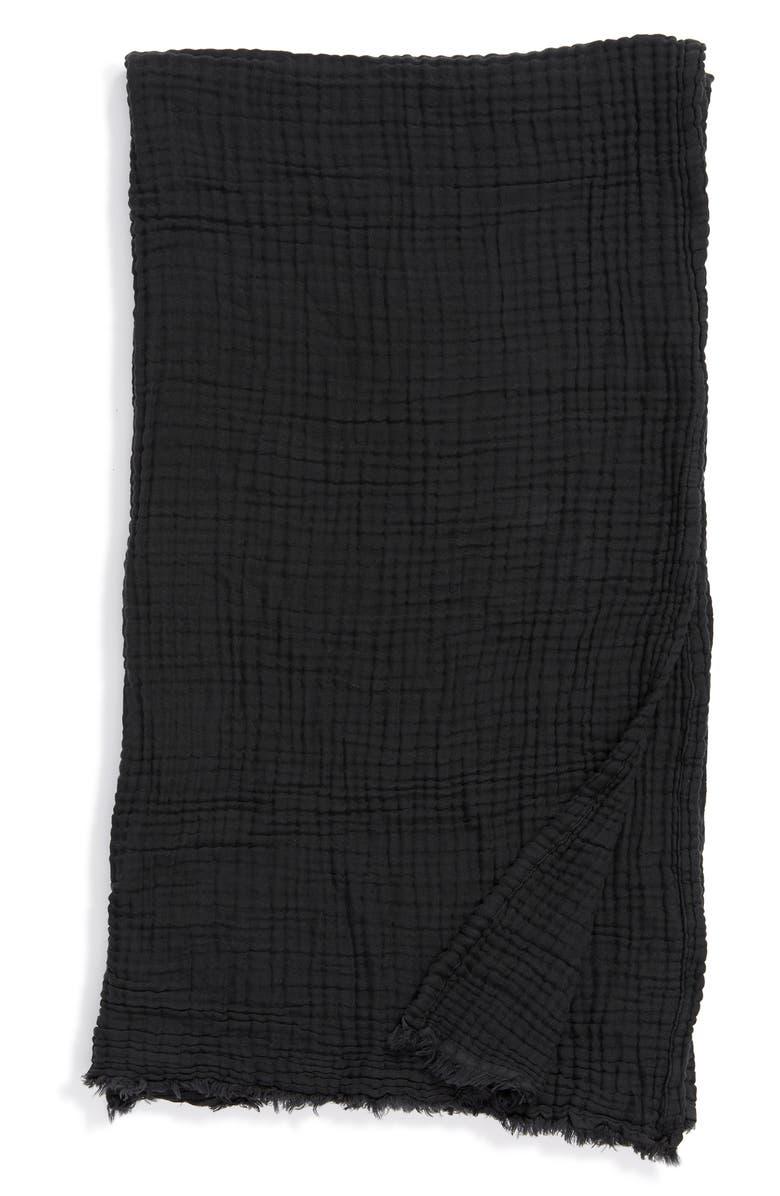 TREASURE & BOND Crinkle Throw Blanket, Main, color, BLACK COAL