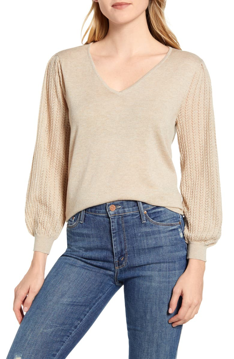 WIT & WISDOM Pointelle Balloon Sleeve Cotton Sweater, Main, color, OATMEAL