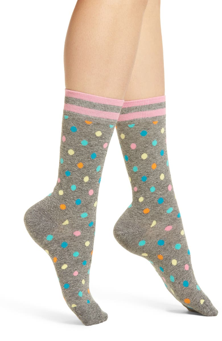 HAPPY SOCKS Dot & Stripe Crew Socks, Main, color, 018