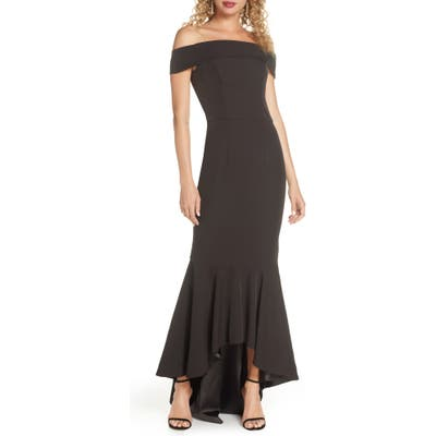 Chi Chi London Shirley Off The Shoulder High/low Evening Gown, Black