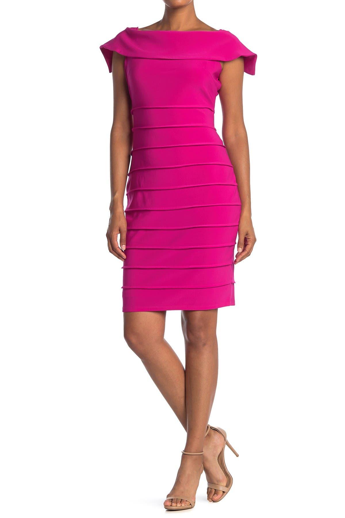 Image of Marina Cap Sleeve Shutter Pleat Sheath Dress