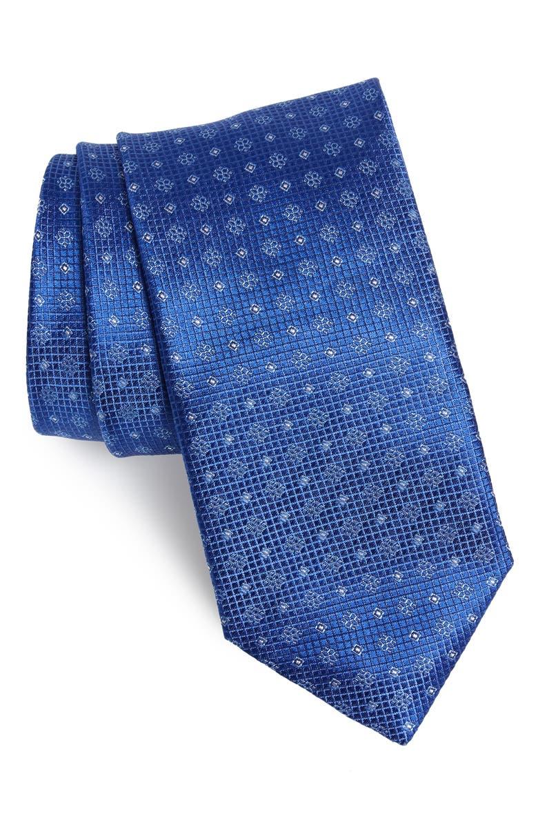 CANALI Geometric Silk Tie, Main, color, BRIGHT BLUE