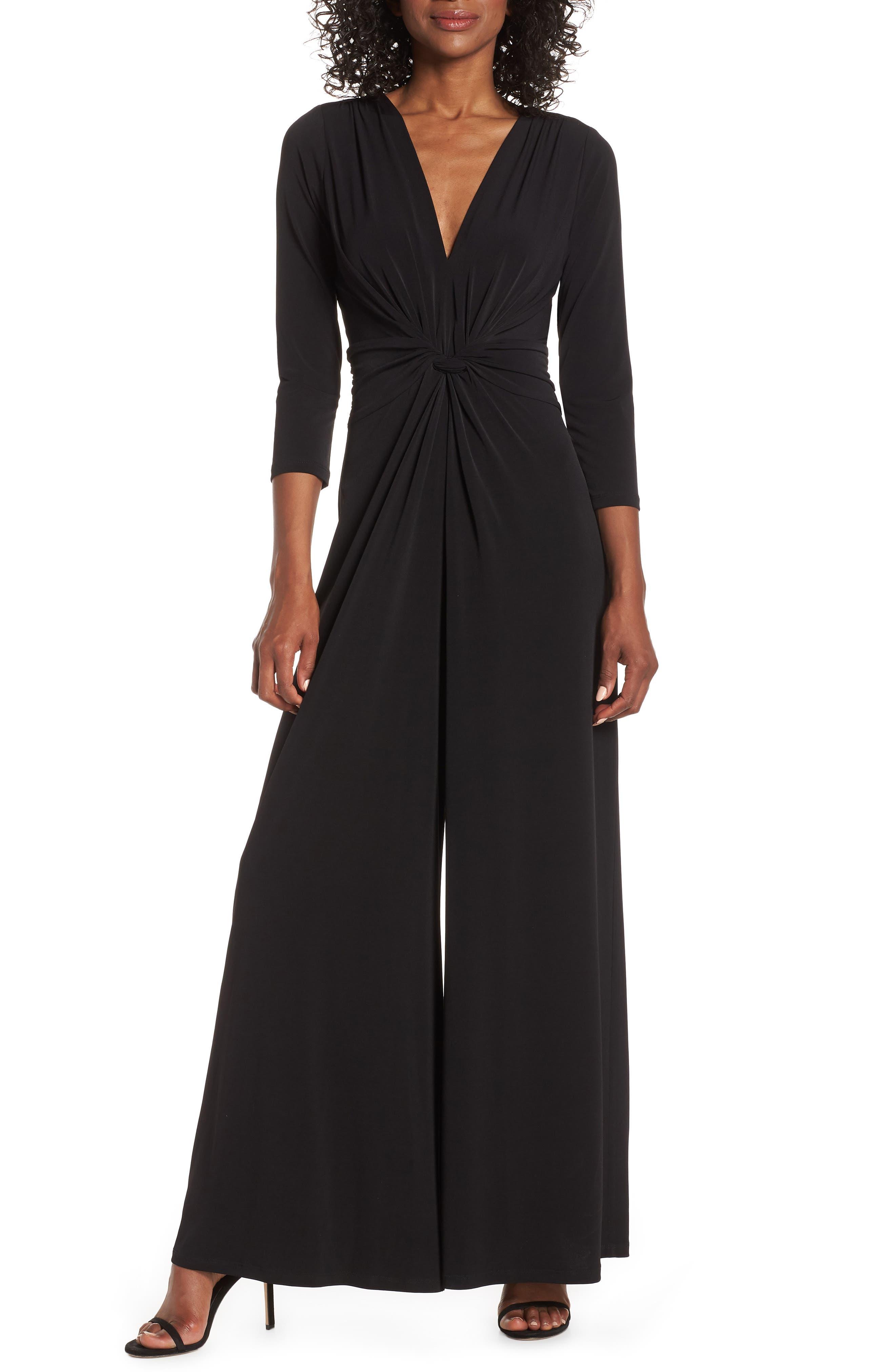 70s Prom, Formal, Evening, Party Dresses Womens Eliza J Twist Wide Leg Jumpsuit Size 18 similar to 14W - Black $108.00 AT vintagedancer.com