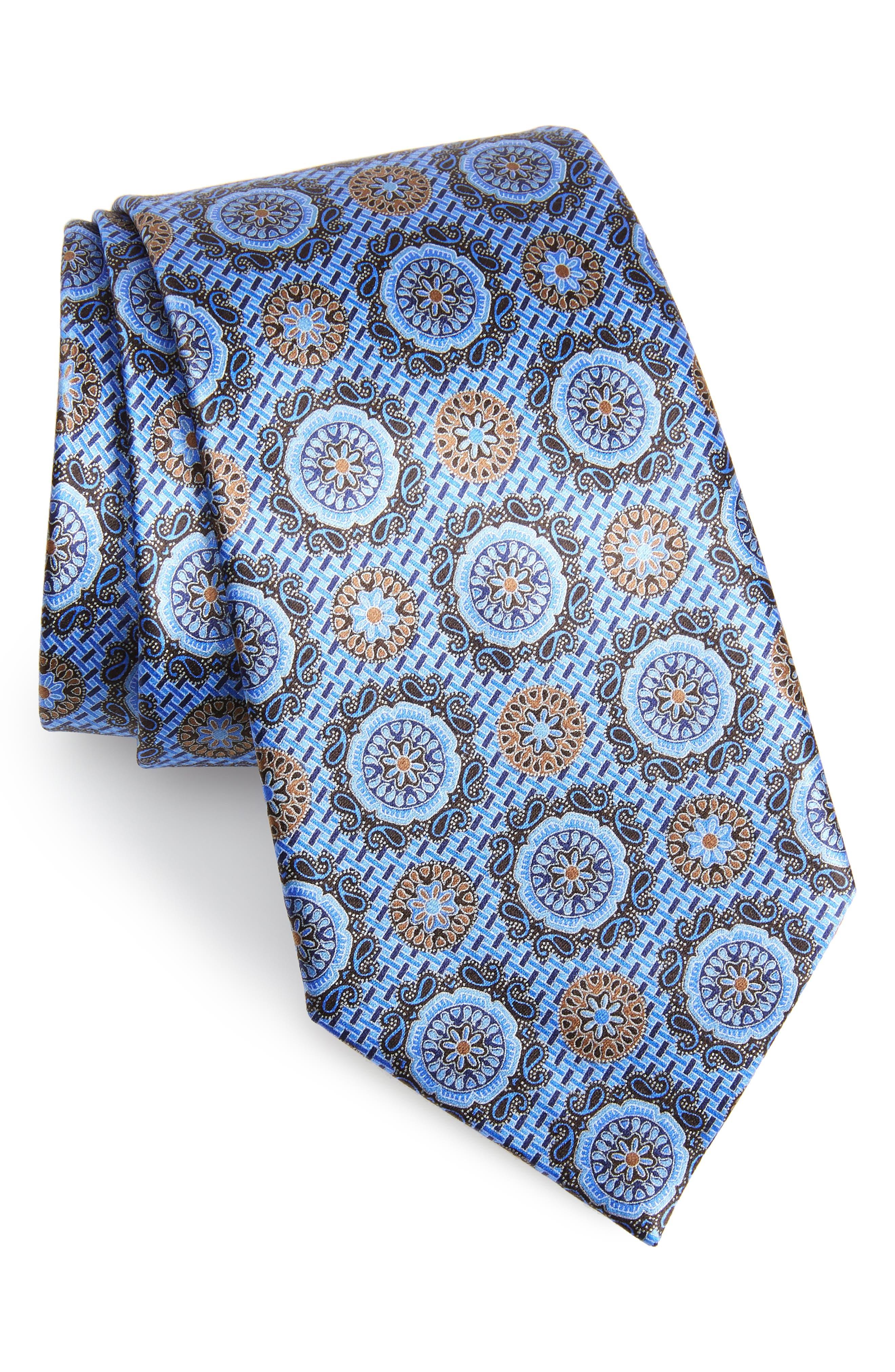 ,                             Medallion Silk Tie,                             Main thumbnail 1, color,                             BLUE