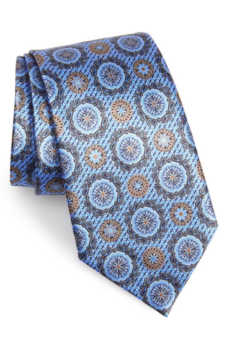ERMENEGILDO ZEGNA Medallion Silk Tie, Main, color, BLUE