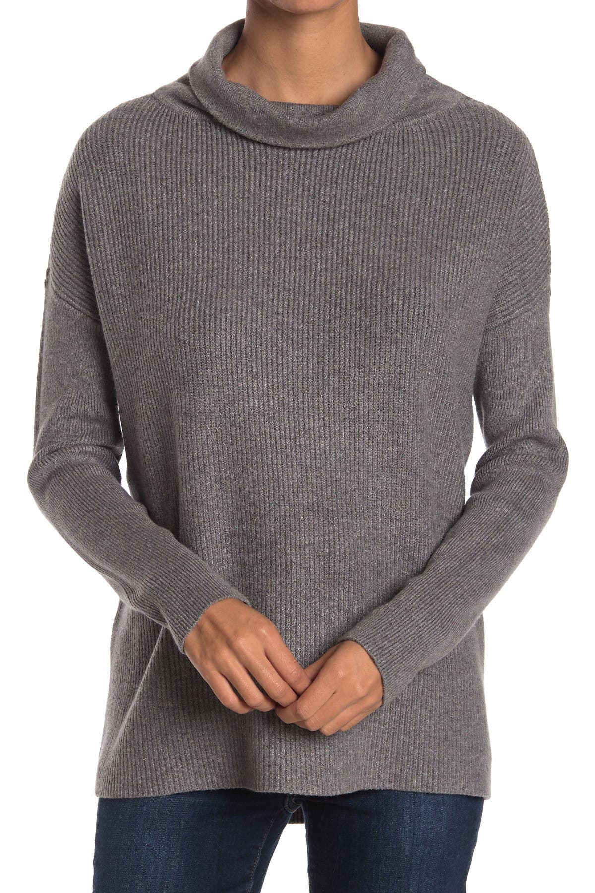 Image of Devotion By Cyrus Cowlneck Ribbed Tunic Sweater