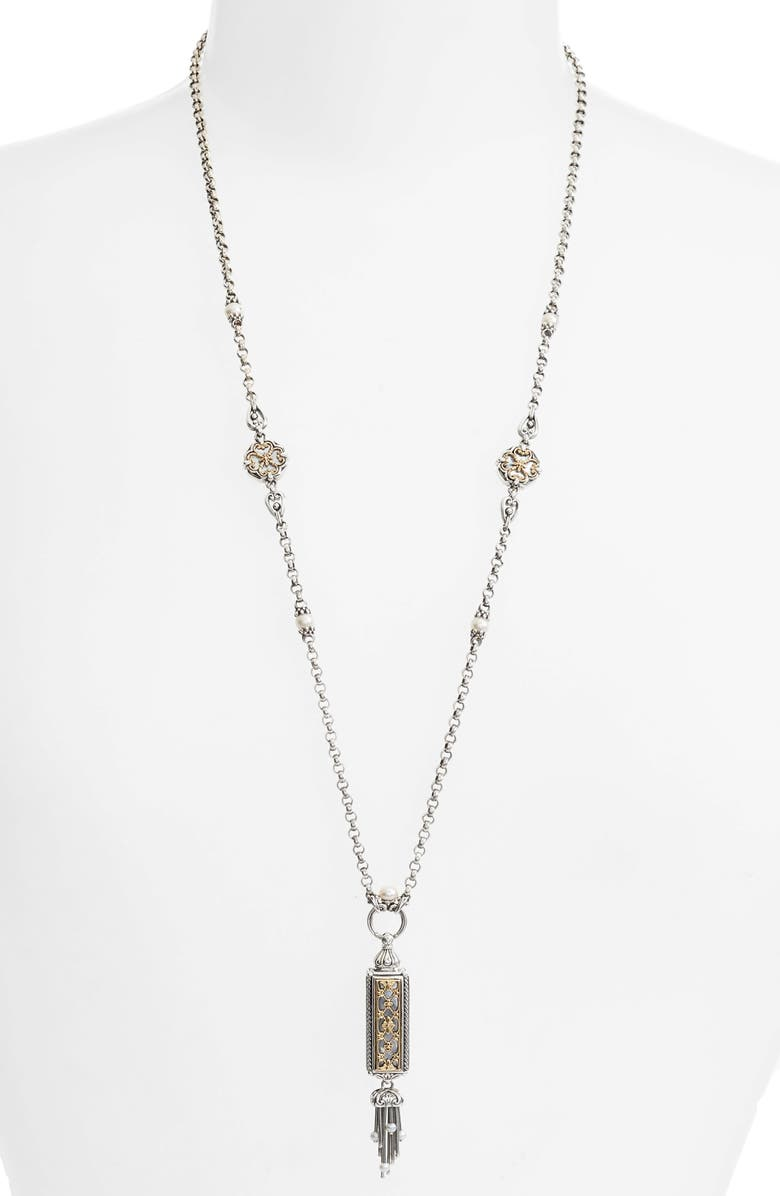 KONSTANTINO Silver & Gold Genuine Pearl Tassel Necklace, Main, color, SILVER/ GOLD/ WHITE