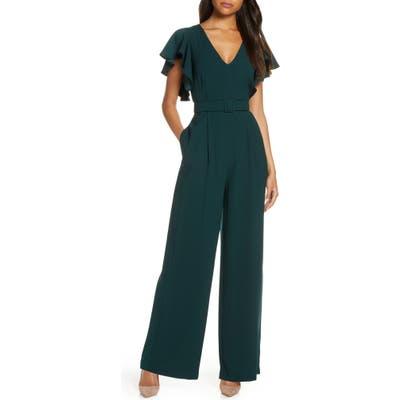 Eliza J Flutter Sleeve Belted Satin Jumpsuit, Green