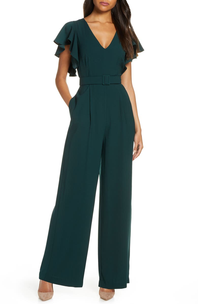 ELIZA J Flutter Sleeve Belted Satin Jumpsuit, Main, color, HUNTER