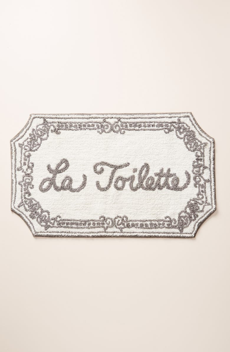 ANTHROPOLOGIE La Toilette Bathmat, Main, color, GREY