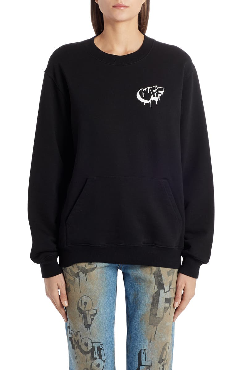 OFF-WHITE Markers Crewneck Sweatshirt, Main, color, BLACK WHITE
