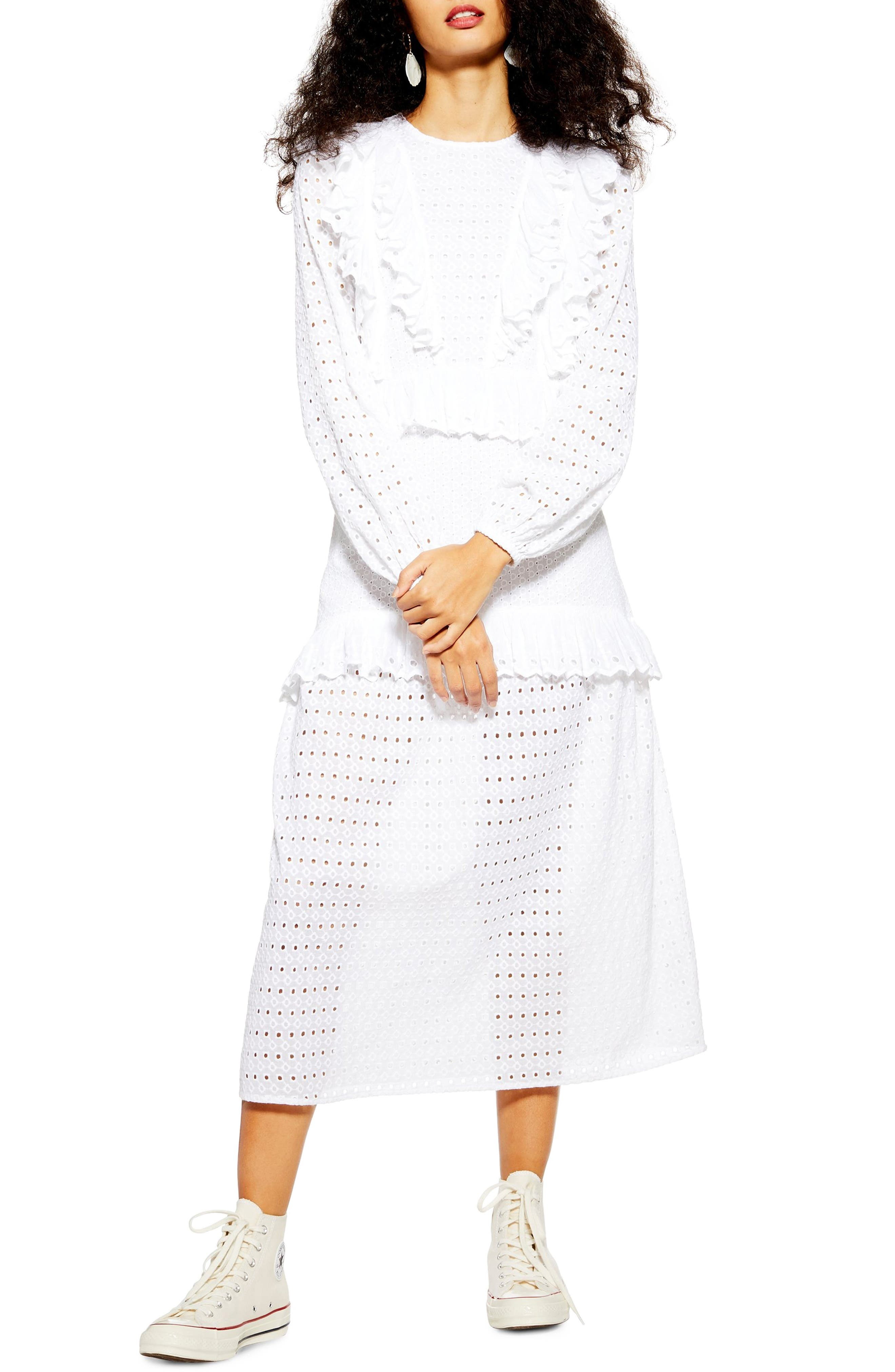 Topshop Broderie Frill Midi Dress, US (fits like 10-12) - Ivory