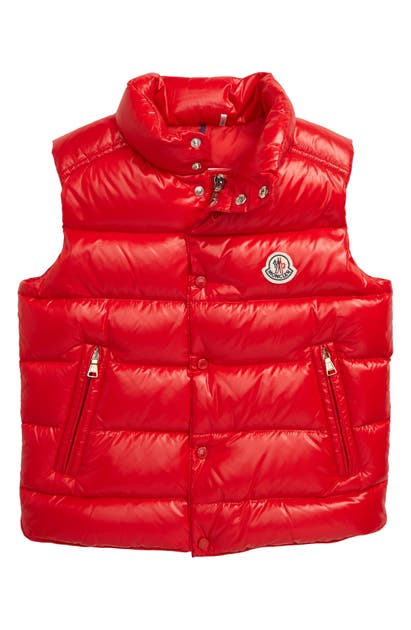Moncler Unisex Tib Quilted Down Vest - Little Kid In Red