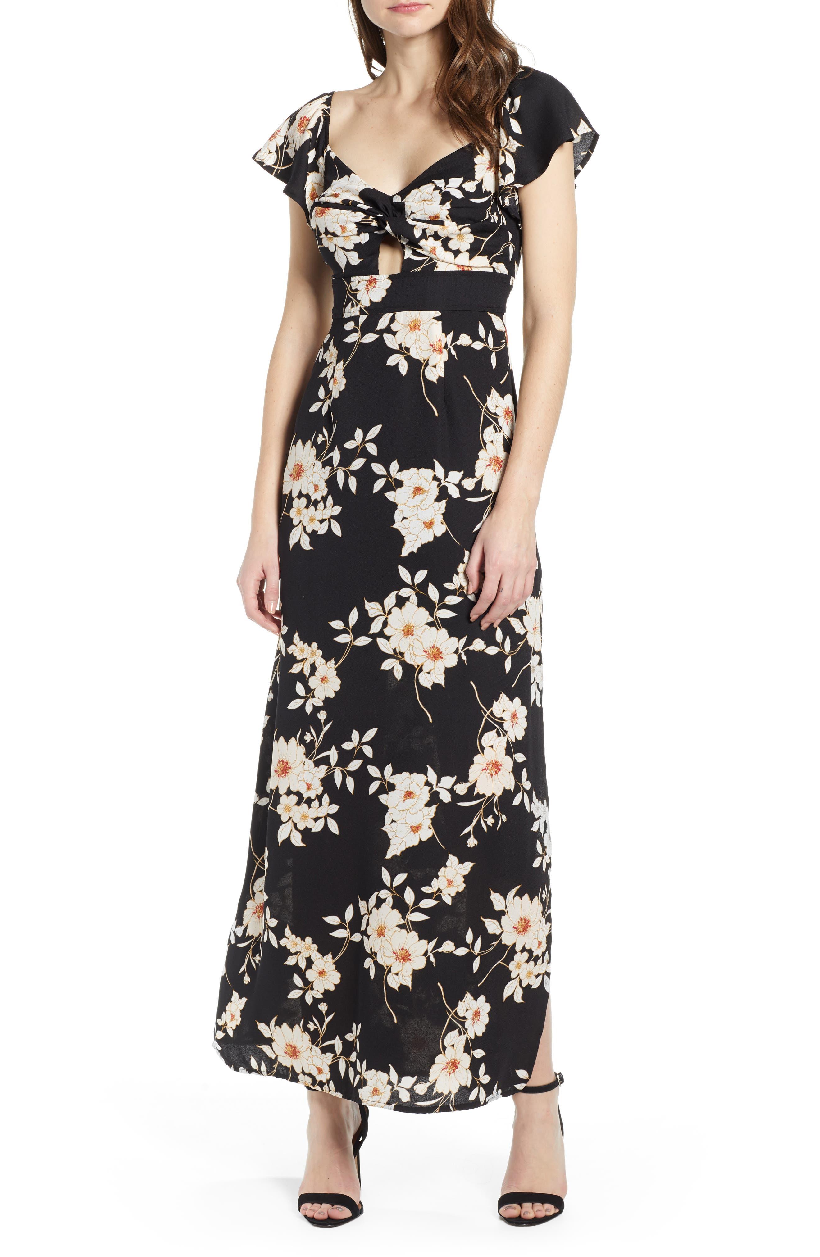 Row A Twist Front Maxi Dress, Black
