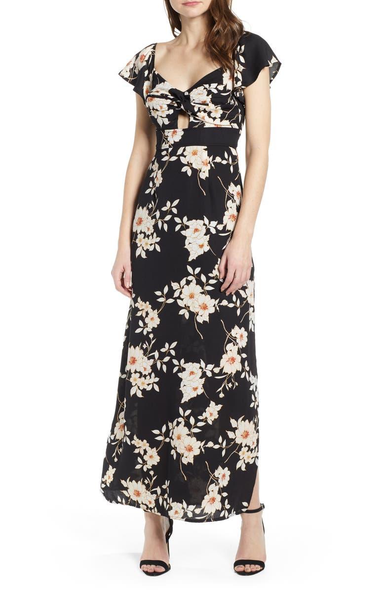 ROW A Twist Front Maxi Dress, Main, color, 001