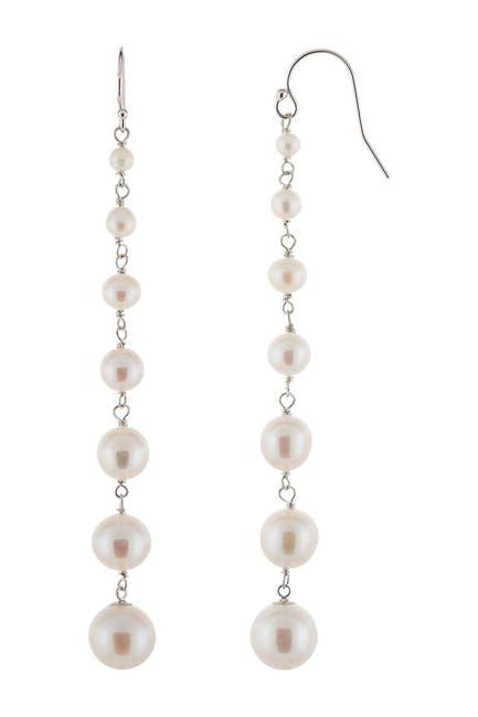 Image of Splendid Pearls Graduated 3-9mm Cultured Freshwater Pearl Linear Drop Earrings